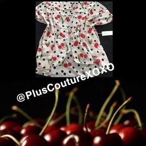 🍒NWT Vintage Cherry Polka Dot Swim Kimono CoverUp
